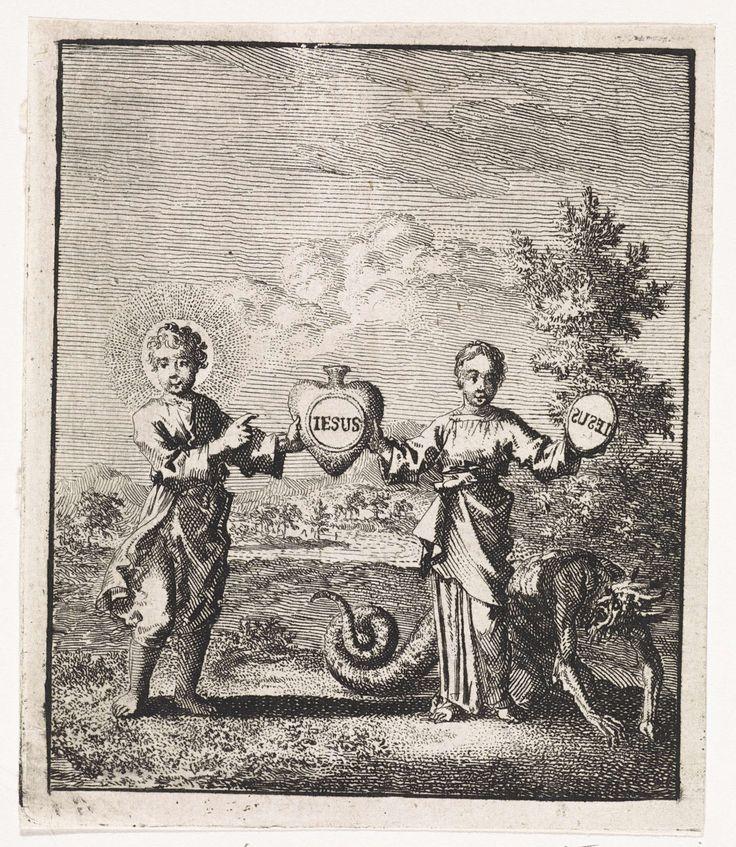 """Christus en de gepersonifieerde ziel houden samen een hart met de afdruk """"Iesus"""" vast, Jan Luyken, 1714"""