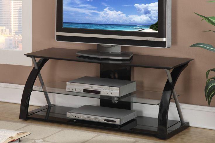 POUNDEX F4521 BLACK GLASS TV STAND