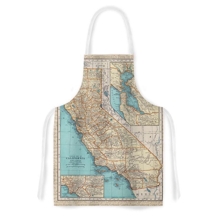 Kess InHouse Catherine Holcombe 'So Cal Surf Map' Beige Blue Artistic Apron