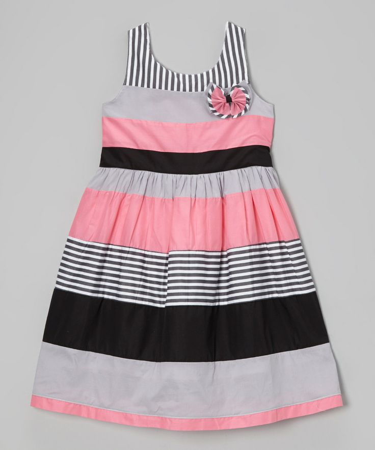 This Gray & Pink Stripe Babydoll Dress - Girls by Maggie Peggy is perfect! #zulilyfinds