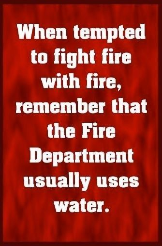 """""""When tempted to fight fire with fire, remember that the Fire Department usually uses water."""""""