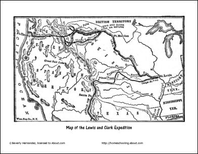 Lewis and Clark Worksheets and Coloring Pages: Lewis and Clark Expedition Map