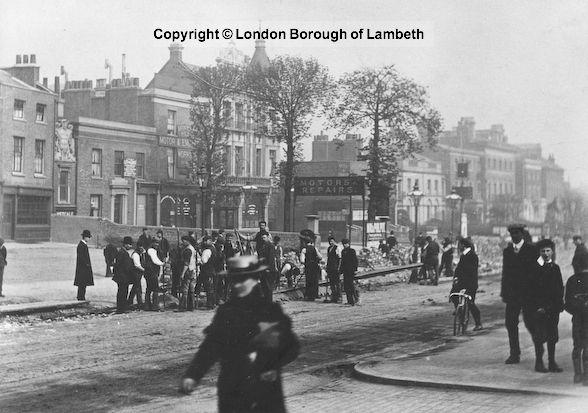 Tramway Electrification, Brixton Hill c.1904.