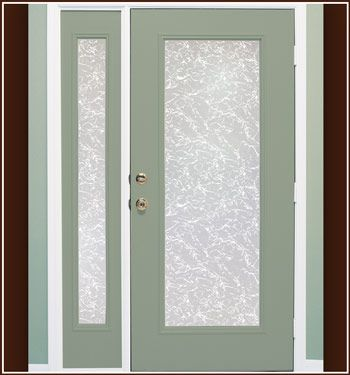 Austin Privacy Etched Glass Film - Easily add the elegance of decorative privacy glass to any window or glass door with this do-it-yourself, adhesive-free vinyl film.