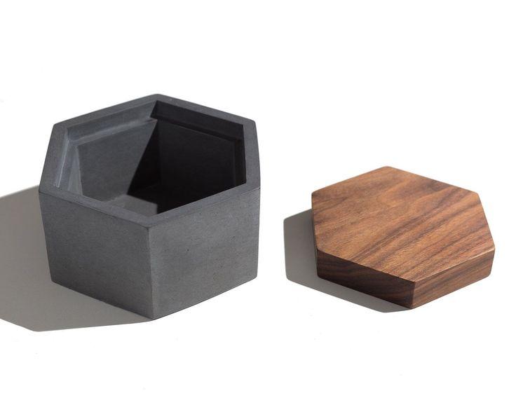 Hexagon Concrete Box with Walnut lid / Minimalist Home Decor/Jewelry Box by INSEKDESIGN on Etsy https://www.etsy.com/listing/198984215/hexagon-concrete-box-with-walnut-lid