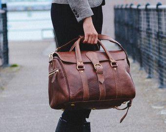 Borsone in pelle uomo borsa Weekender sacca da di BennyBeeLeather