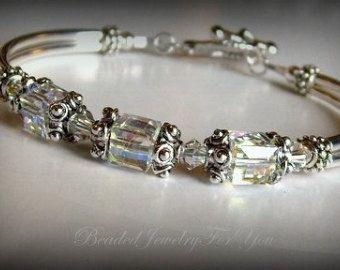 Aquamarine Bridesmaid Bracelet: Birthstone by beadedjewelryforyou