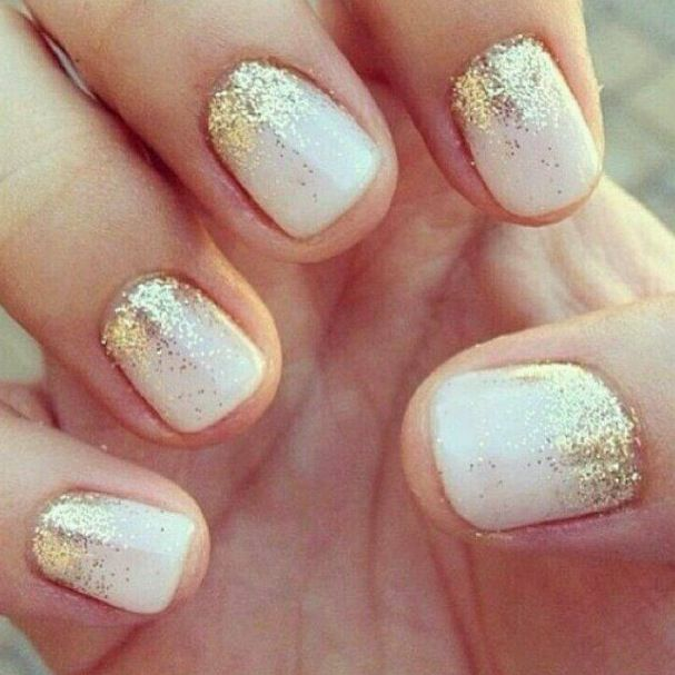 Beautiful wedding nails with a little sparkle
