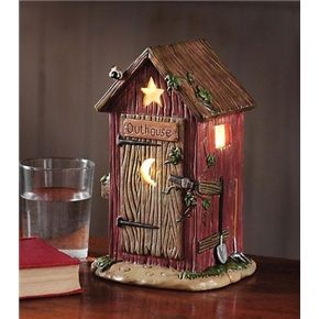 outhouse bathroom decor | Outhouse Nightlight Rustic Bath Decor