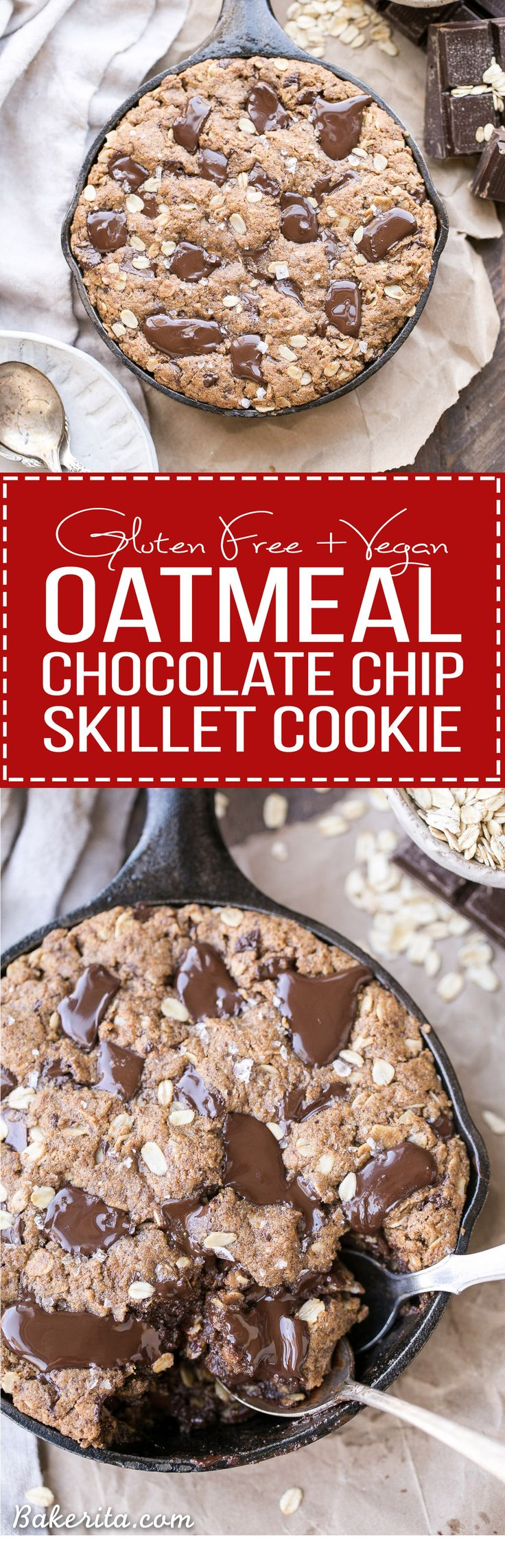 This Oatmeal Chocolate Chip Skillet Cookie is the ultimate thick, gooey oatmeal cookie! This gluten-free and vegan dessert is loaded with gooey chocolate. This one is sure to satisfy your chocolate cravings!