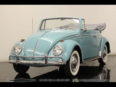 Light Blue Vw Bug Convertible Vintage Automobile