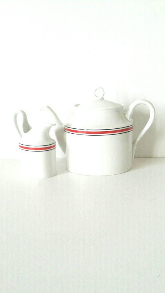Richard Ginori Teapot rot und weiß Teekanne set von BravaVintage