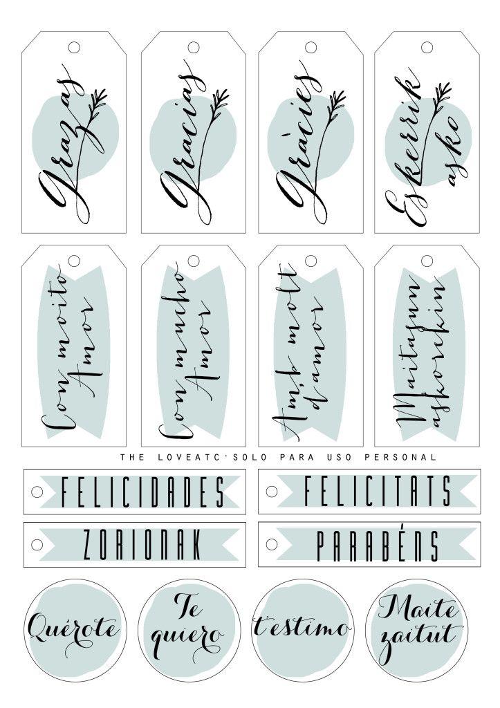 Etiquetas de regalo en castellano, catalán, euskera y gallego. Disponibles en 4 colores diferentes.