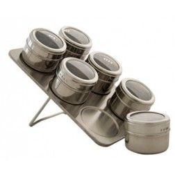 Porta Condimentos Magnético Aço Inox com Base e 6 Porta Temperos
