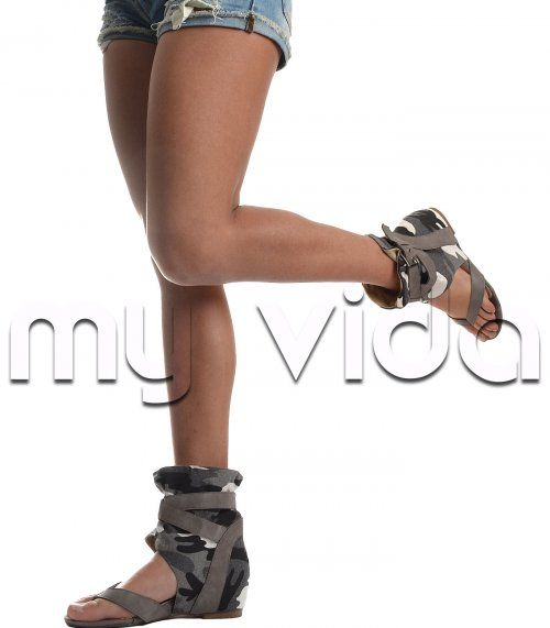 Sandalo gladiatore donna infradito mimetico ciabattina zeppa | My Vida