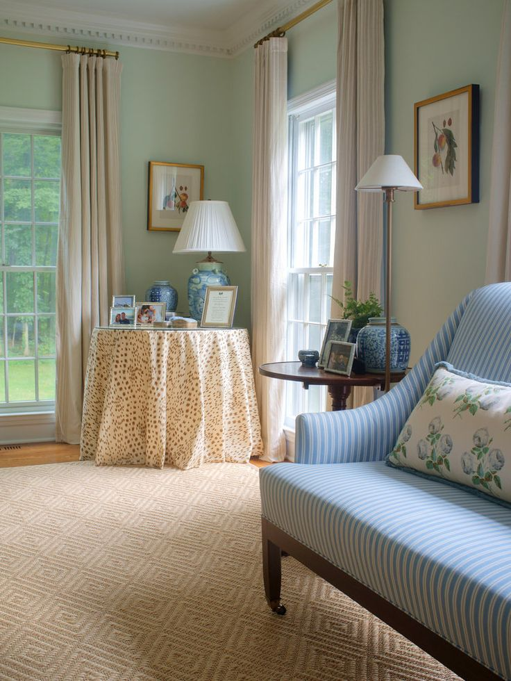 Connecticut Country House Formal Living Room Featuring Mint Green Walls And Quadrille Arbre De Matisse