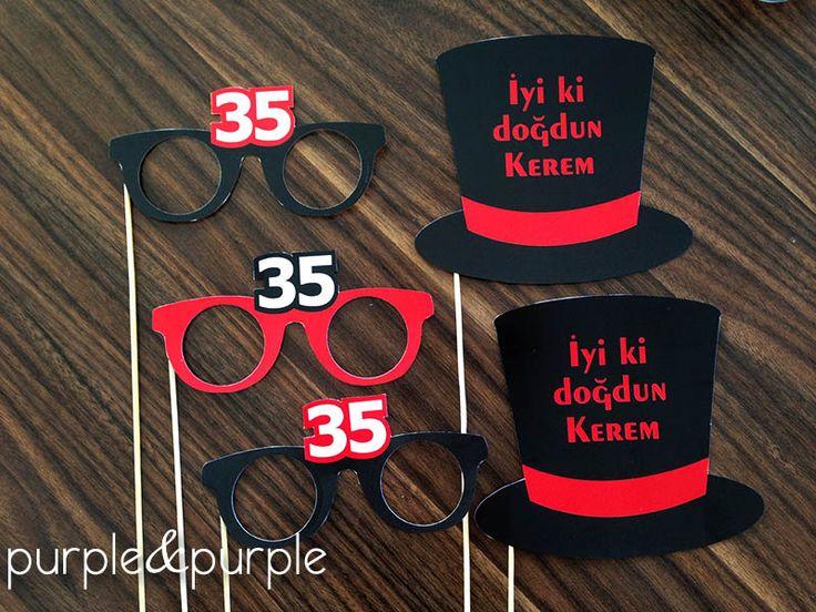 35 yaş temalı parti şapkaları ve gözlükleri | 35 yaş doğum günü | 35th birthday