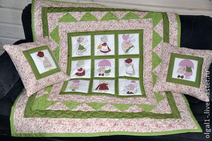 """""""Милашки Сью 3"""" детское одеяло + 2 наволочки для подушек - лоскутное шитье"""