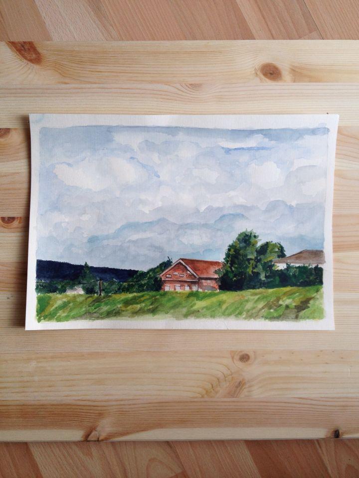Watercolor. Norwegian farm.