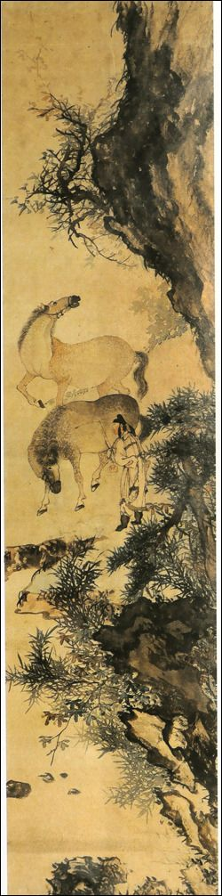 (Korea) Two horses by Owon Jang Seung-eop (1843- 1897). color on hanji. Korean painting.