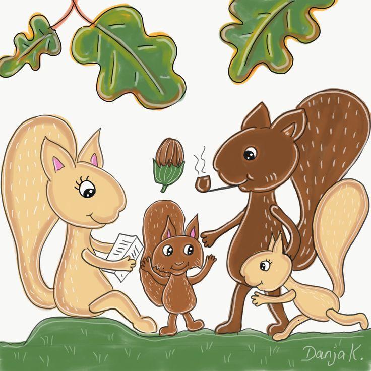 eichhörnchen familie gezeichnet auf dem ipad pro mit adobe