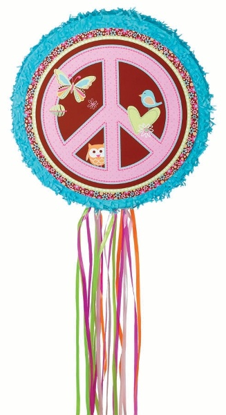 This Hippie Chick Peace Sign Pull Piñata is a perfect idea for younger children…