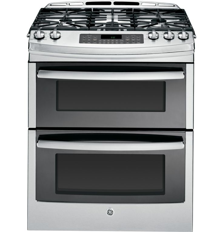 GE's industry-first slide-in double oven gas range allows two different items to be cooked at the same time.