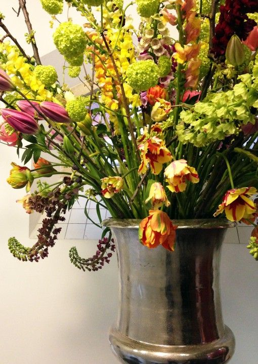 Amazing flower display in a gorgeous metal container
