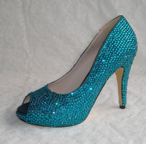 Shinning crystal shoes for Wedding or party Blue color rhinestones, other colors available too. $129.00, via Etsy.