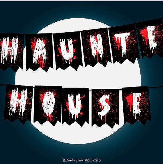 Haunted House Bunting Halloween Printable Decoration, Trick or Treat , Banner, Walking Dead, Zombie themed Party, Horror, LARGE - - - - - - - -