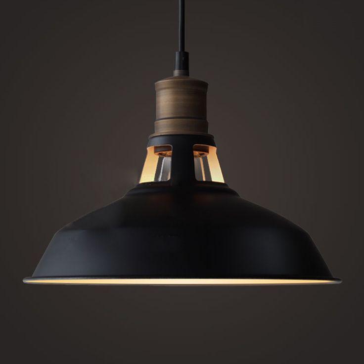 YOBO Lighting Industrial Edison Antique Hanging Pendant Light with Metal Dome Shade, Matte Black - - Amazon.com