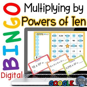 Multiplying Powers of Ten Bingo focuses on multiplication of whole and decimal numbers with an emphasis on the value of various place values. Numbers to the right are one tenth the value of numbers to the left and numbers to the left are ten times greater.