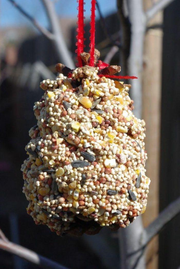 cabane oiseau mangeoire oiseaux en pomme de pin et graines