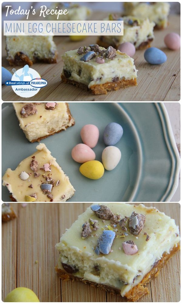 Mini Egg Cheesecake Bars made with crushed chocolate Easter eggs. A perfect treat for a family gathering! #recipe #dessert