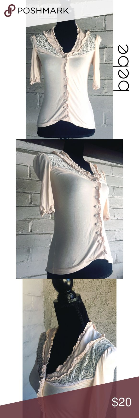 Bebe Rustic, Romantic Chic Lace Patterned Blouse Bebe Rustic, Romantic Chic Lace Patterned Blouse 🌷 Size Small 🌷 Material Is Cotton, Spandex & Nylon With Lace Pattern At Top 🌷 Color Is Light Antique Pink bebe Tops Blouses