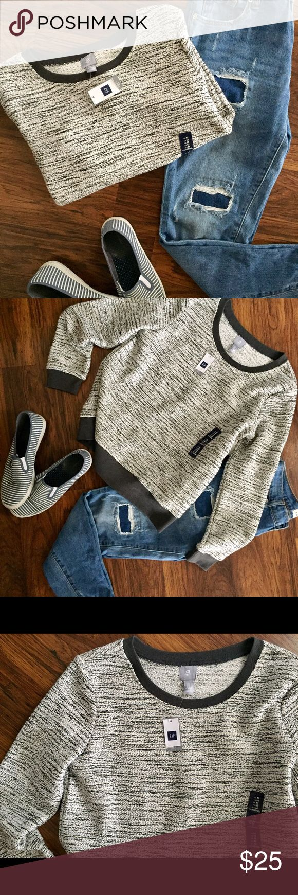 Gap Fit Crew Neck Sweater Brand New GapFit crew neck! Perfect for on-the-go shopping days or wear it with leggings to the gym or yoga! ✨ super cute pattern with colors: gray, cream, black and silver. GAP Sweaters Crew & Scoop Necks
