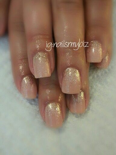 Shellac nail art using Bare Chemise with smokey quartz glitter ◇ For more nail art inspiration check out ig:nailsrmybiz