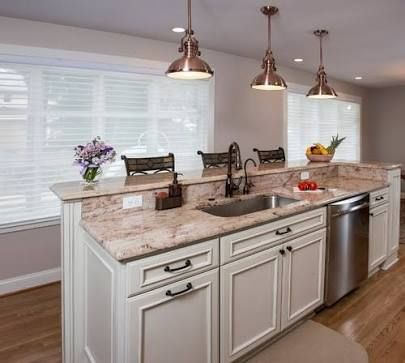 17 best images about bi level counter on pinterest - Kitchen island with sink and dishwasher and seating ...