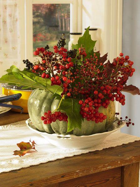 Berry decoration, pumpkin, rosehips