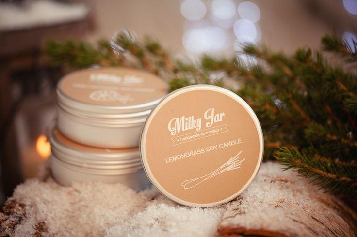 Sojowa świeca Milky Jar Lemongrass 200 ml w Milky Jar Handmade Cosmetics na DaWanda.com  #niezchinzpasji