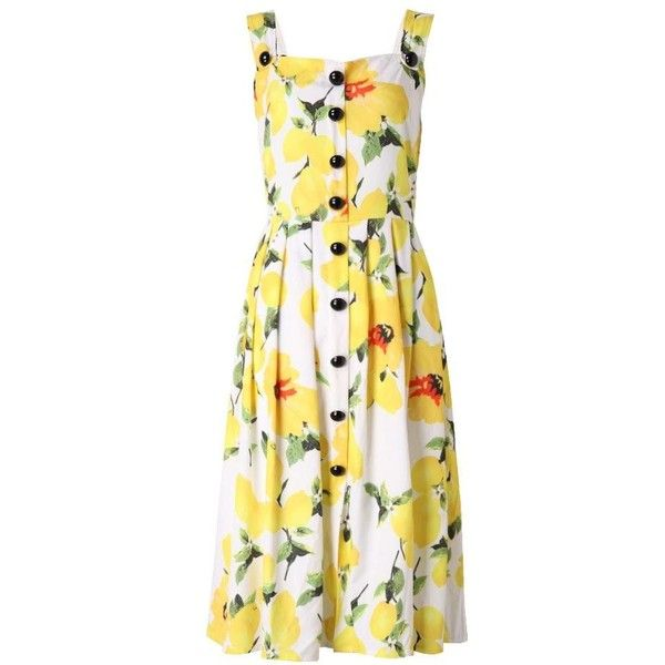 Women Strap Floral Printed Pleats Tunic Swing Dress Summer Slim Dress featuring polyvore, women's fashion, clothing, dresses, summer dresses, yellow, white dress, white sleeveless dress, white sleeve dress and yellow summer dress