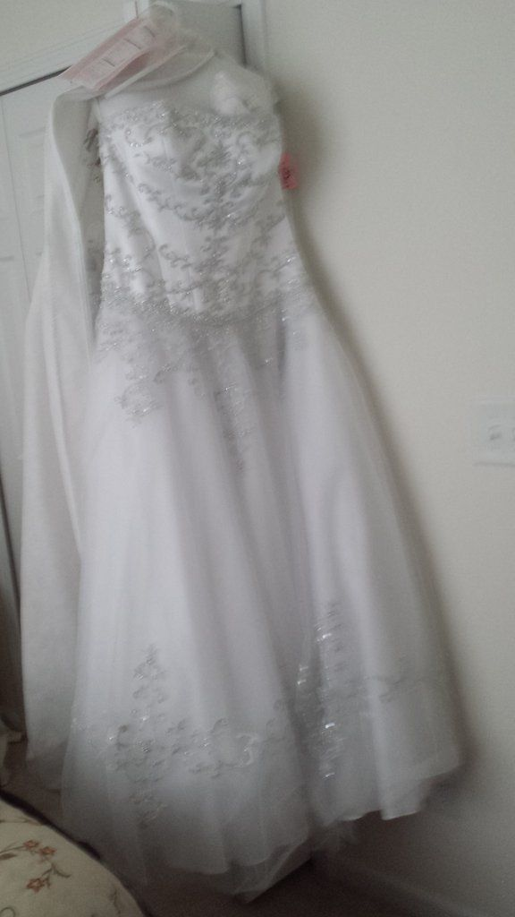 Ballgown style, corset bodice, sleeveless. Lots of beading detail. Worn once just for pictures, but never worn in a wedding. Bought from David's Bridal. Was on sale, paid $700.including veil, selling for $500 including veil.