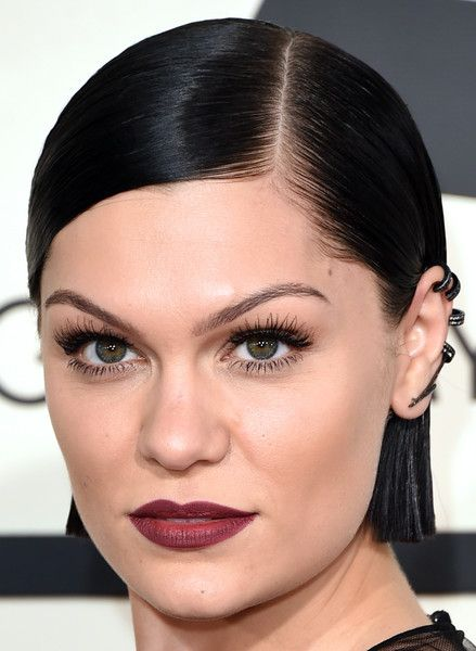Jessie J's Super Short Cut and Oxblood Lips