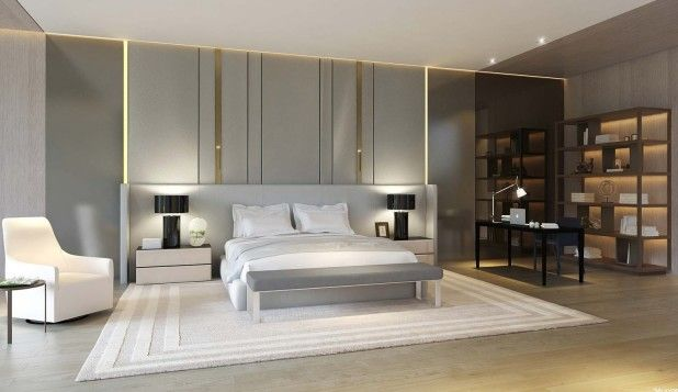 Bedroom. Adorable Bedroom Decorating Ideas Featuring Low Profile Bed And Rectangle Bench On Grey Rug Also Nice Wooden Wall Bookshelf Nearby Espresso Wooden Writing Desk With Bedroom Decorating Stores And Decorated Rooms Ideas. Awesome Bedrooms Decorating Ideas
