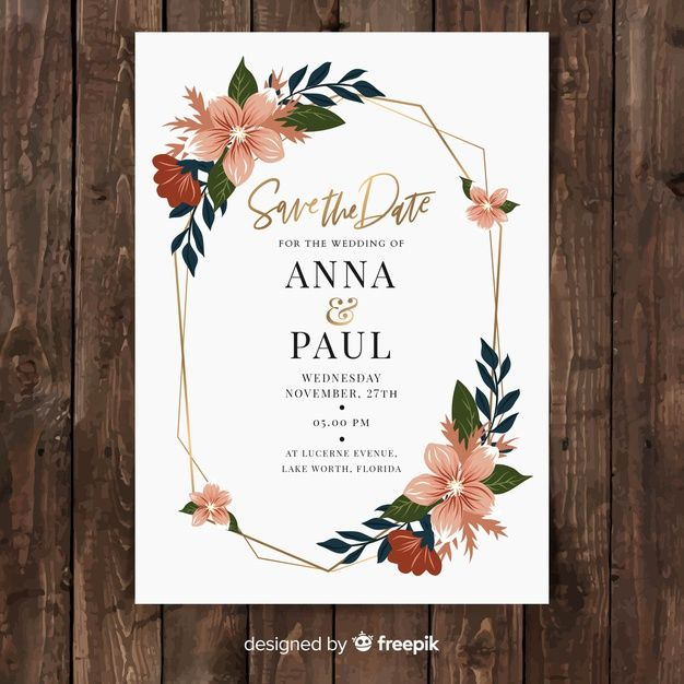 Flat Floral Wedding Card Template Free Vector Free Vector Freepik Vector Freeflower F Wedding Cards Wedding Card Templates Hand Drawn Wedding Invitations