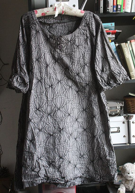 Graphite color dress tunic soft cotton by GreenHouseGallery