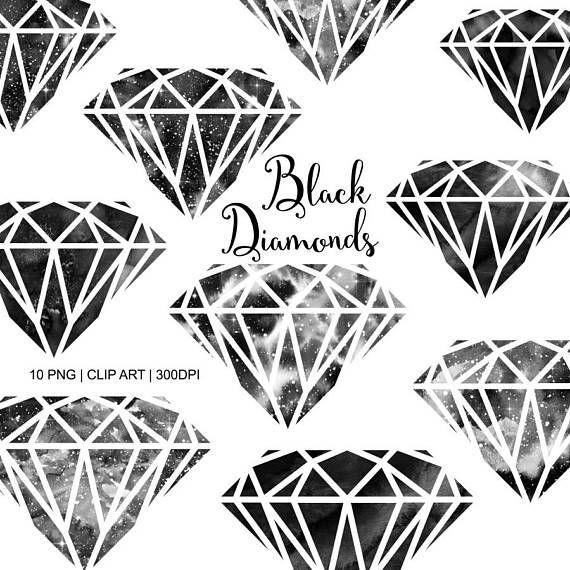 Diamond Clipart Black Watercolor Diamonds Etsy In 2020 Clip Art Diamond Tattoo Designs Watercolor Galaxy