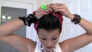 Pin-Up Hair Do - Rosie the Riveter Bandana, via YouTube. Gotta love Kandee!