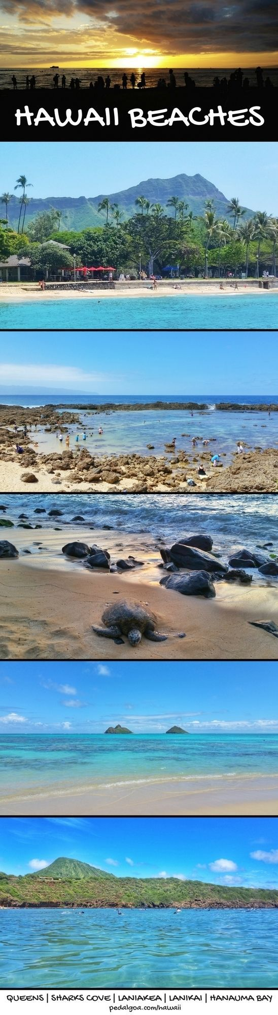 For best beaches in Hawaii, activities like swimming, snorkeling, to see sea turtles! Going to best Oahu beaches also gives other things to do with nearby hiking trails for some Oahu hikes. Tips for near hotel in Waikiki or Honolulu, or with a rental car or by bus to North Shore for trip to see beautiful ocean sunset. USA travel destinations for bucket list for world adventures when on a budget! Put outfits on list of what to pack, what to wear for Hawaii packing list... #hawaii #oahu