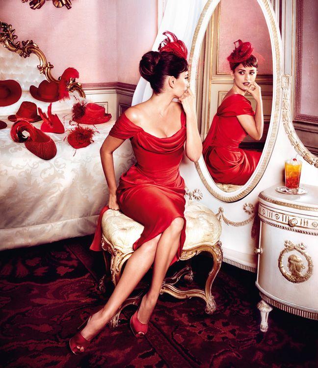 "Classic in an ""Audrey"" kind of way.  Penelope Cruz is Red Hot in the 2013 Campari Calendar"
